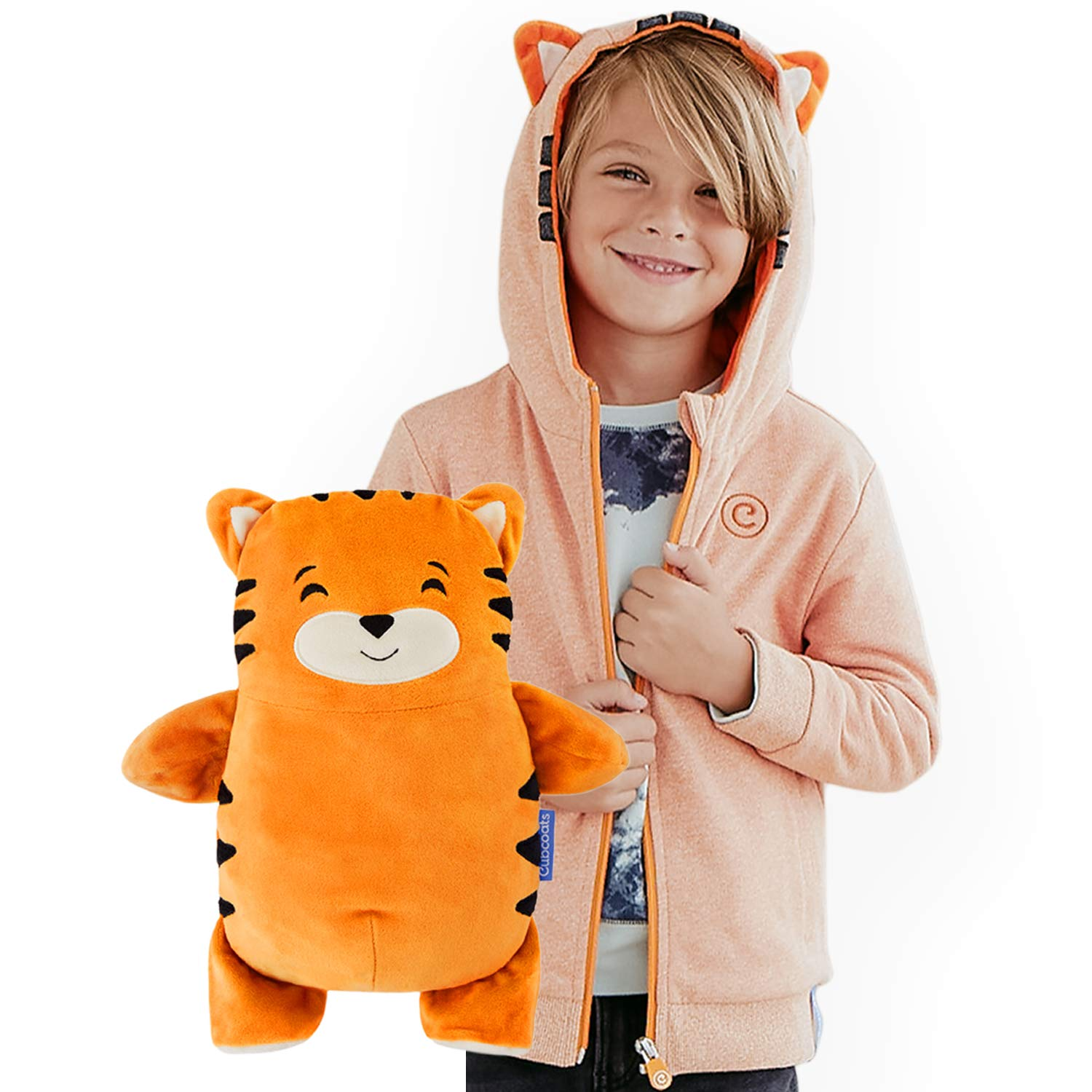 Cubcoats Tomo The Tiger - 2-in-1 Transforming Hoodie & Soft Plushie - Orange