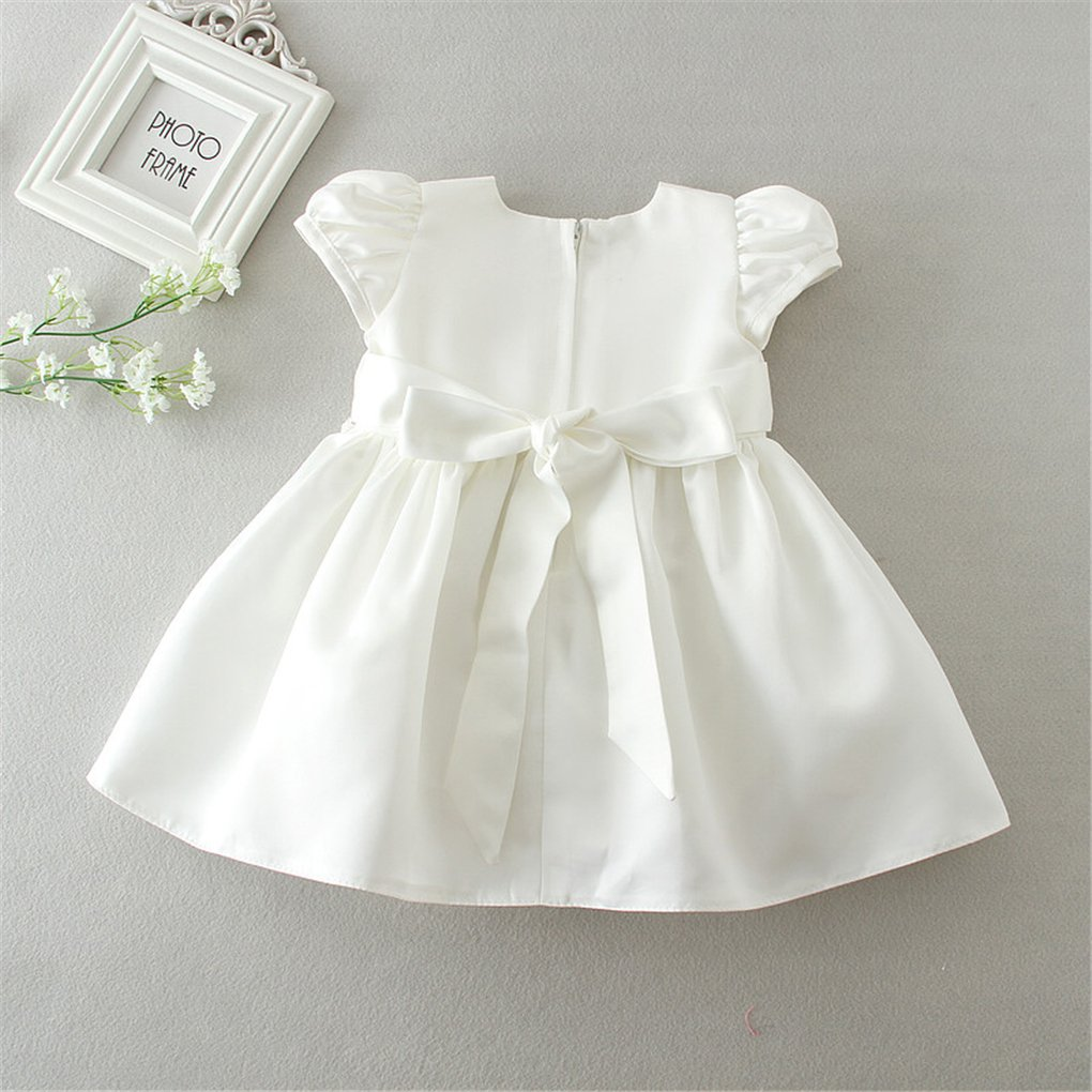 Romping House Baby Girls Cap Sleeve Floral Embroidered Christening Baptism Dress With Bowknot