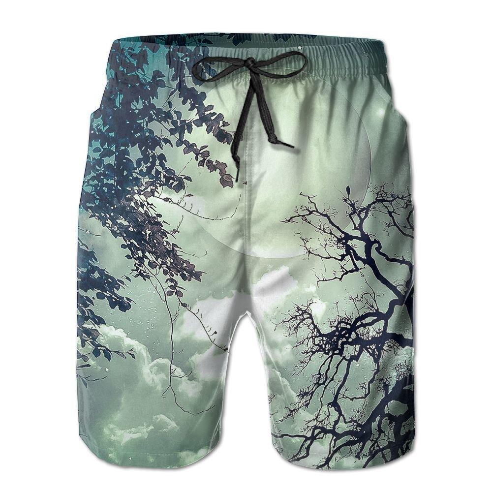 Tydo Night Moon Tree Mens Beach Shorts Loose Swim Trunks Surf Board Pants With Pockets For Men