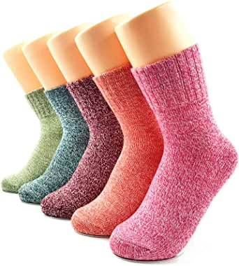 Warm Socks for Women, AIMKE 5 Pairs Casual Socks Cozy Socks, Knit Winter Fall Crew Socks