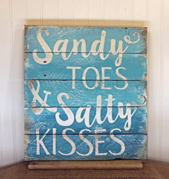 PotteLove Sandy Toes And Salty Kisses Beach Quote Reclaimed Wood Pallet  Sign Home Decor 16x17,