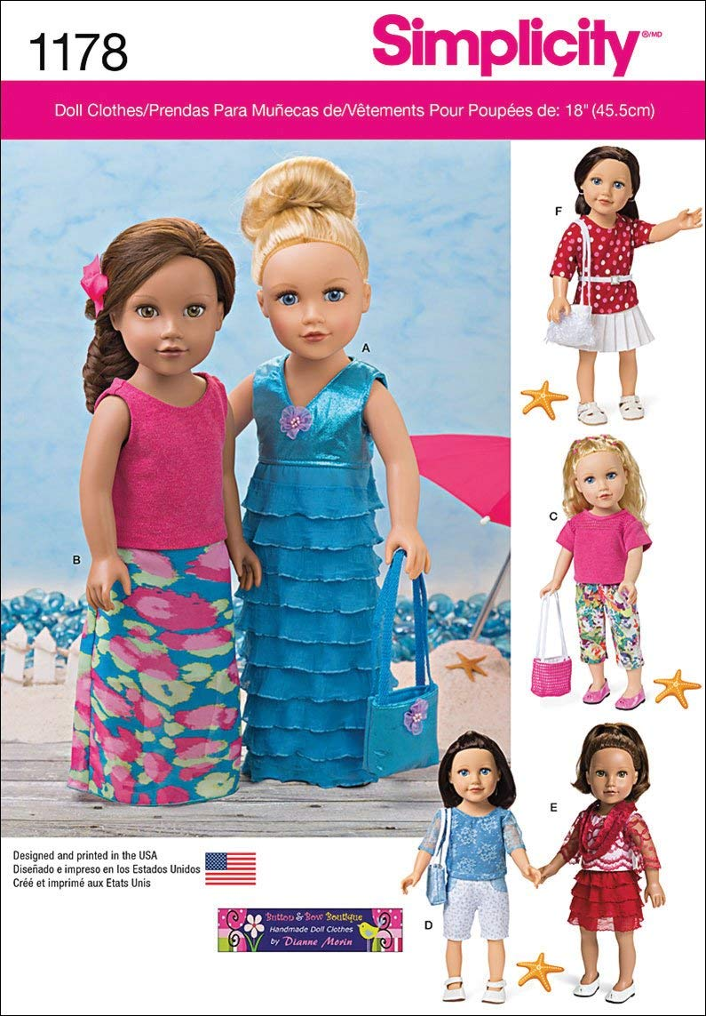OUTLOOK GROUP CORP Simplicity Patterns 18'-Inch US1178OS Modern Clothes for Doll, OS (ONE Size)
