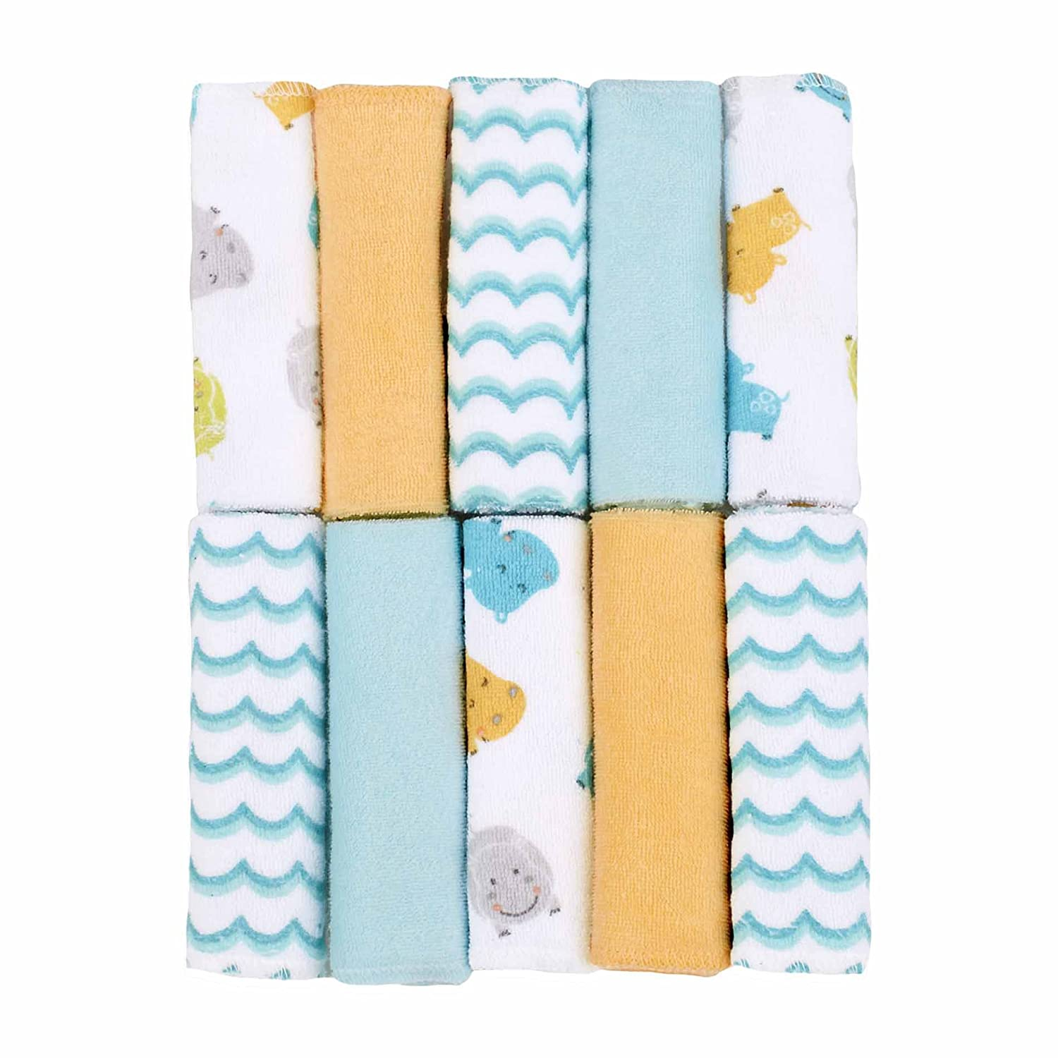 Crab//Blue Just Born Love to Bathe Woven Washcloth Set 10 Count