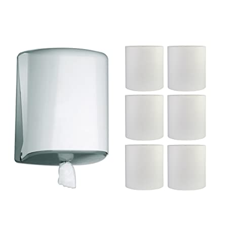 1 Rollo Dispensador de toallas Jofel Azur Midi Caja blanco + 6 toallas de mano de