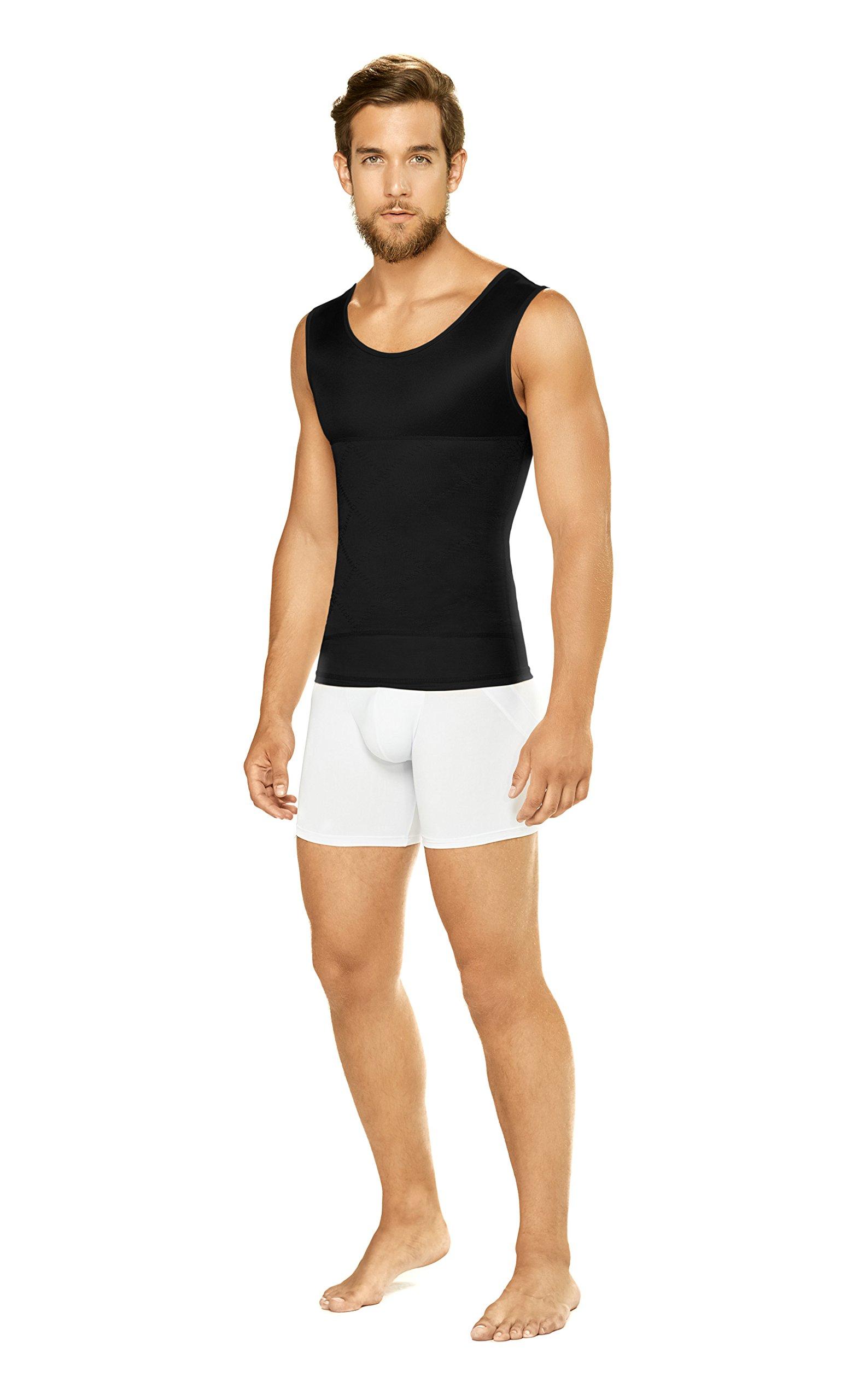 Diane & Geordi Men Torso Tummy Toner Body Shaper Compression Sleeveless Undetectable Under Clothes Slimmer Shirt Faja Reductora Moldeadora Black L