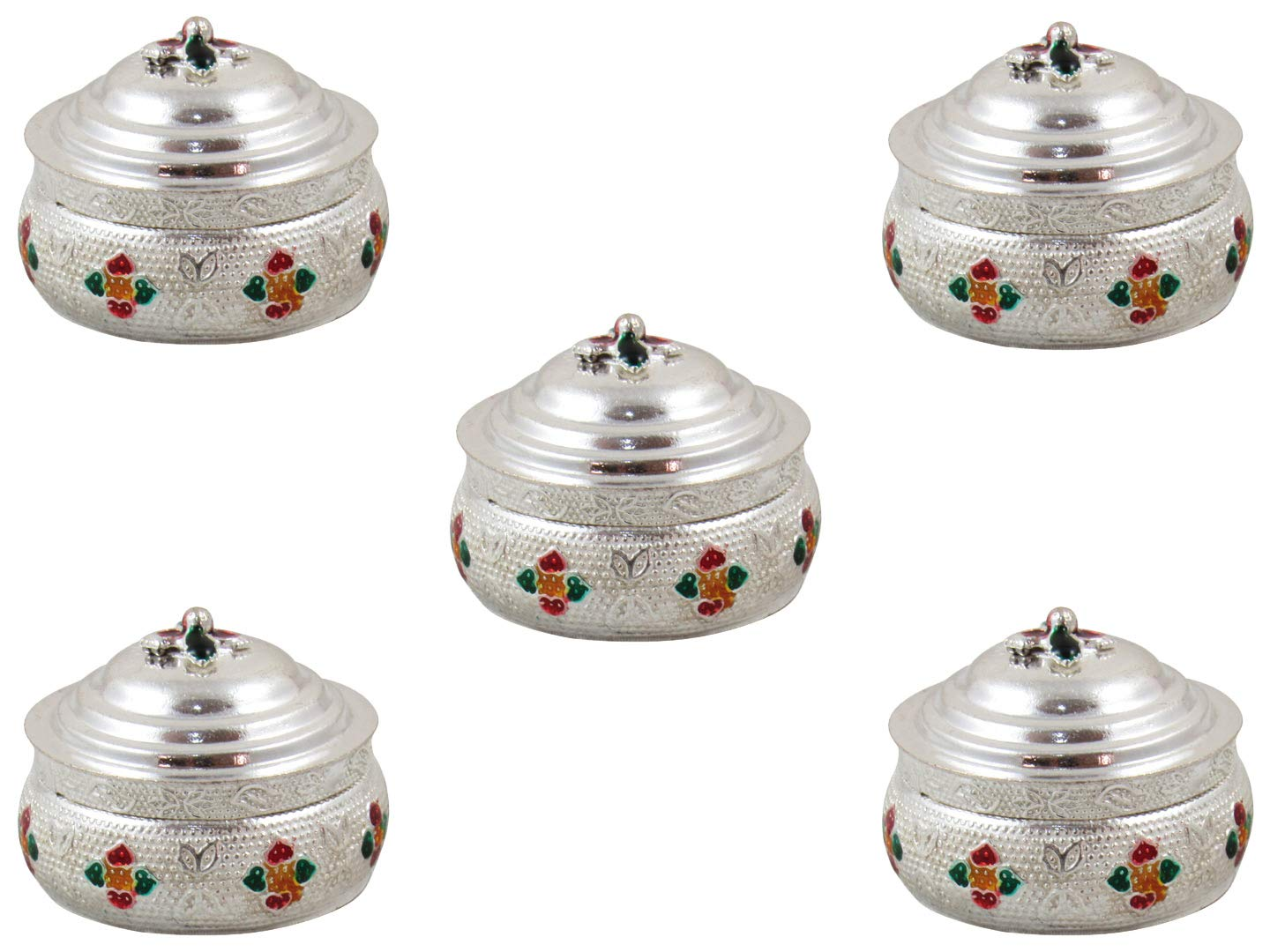 GoldGiftIdeas Silver Plated Meenakari Sindoor Dabbi with Lid, Indian Pooja Items for Home, Return Gifts for Housewarming and Baby Shower, Indian KumKum Box for Gift with Potli Bags (Pack of 5)