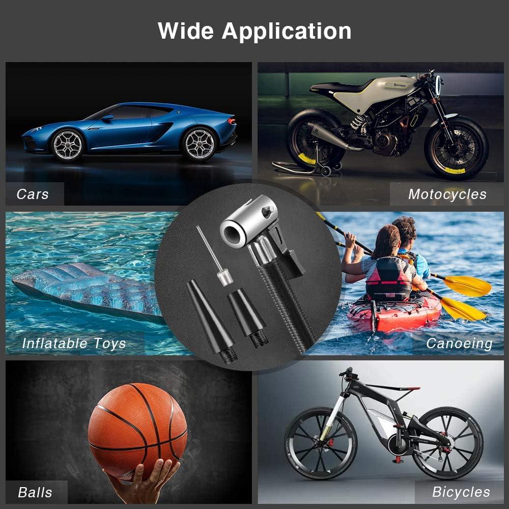 Ball trounistro Auto Kompressor DC12V Luftkompressor Tragbare Elektrischer Auto Luftpumpe Reifen Inflator mit LED-Licht Motorrad Fahrrad Automatische Mobile Kompressoren f/ür Auto