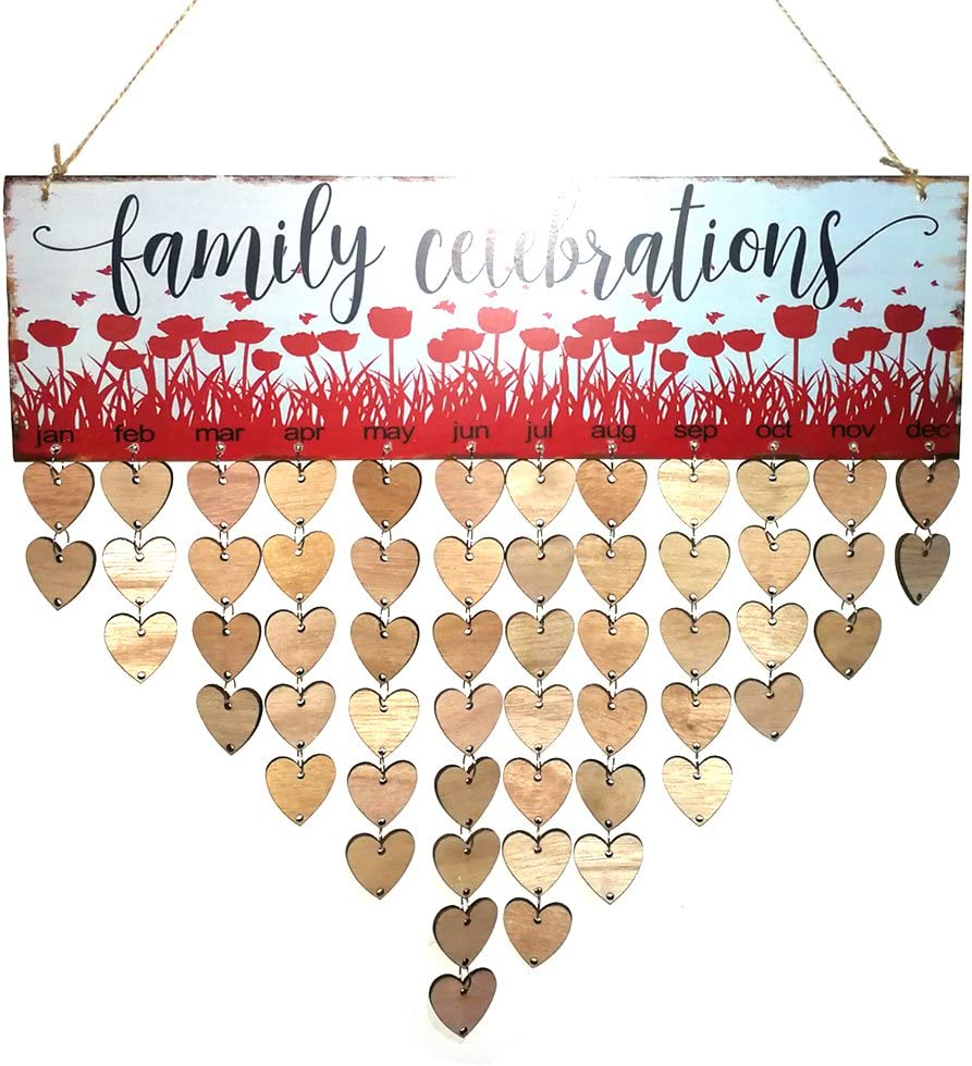 rosenice Family Celebrations Birthday Reminder Heart Shape Hanging DIY Wooden Calendar Plaque Home Wall Decor