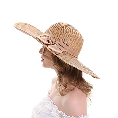 830d043737a91e MEEFUR Women's Large Bowknot Summer Hats Foldable Wide Brim Paper Straw Caps  Lady's Solid Beach Sun