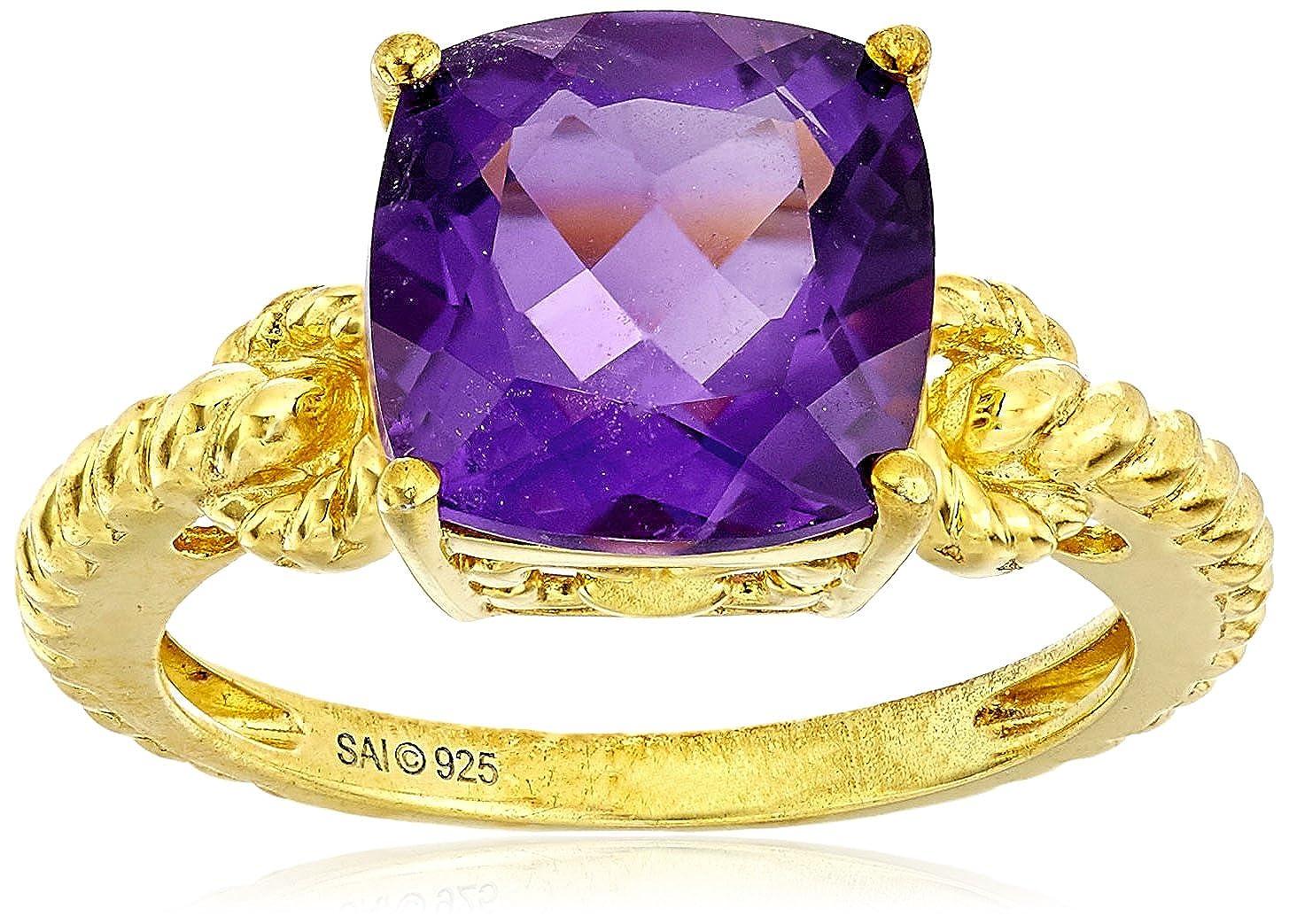 Amazon.com: Plata de ley con Amethyst corte cojín anillo ...