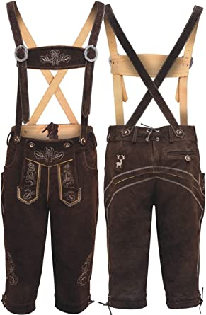 Men,s Long Brown LEDERHOSEN Real Suede Leather with Matching Suspenders