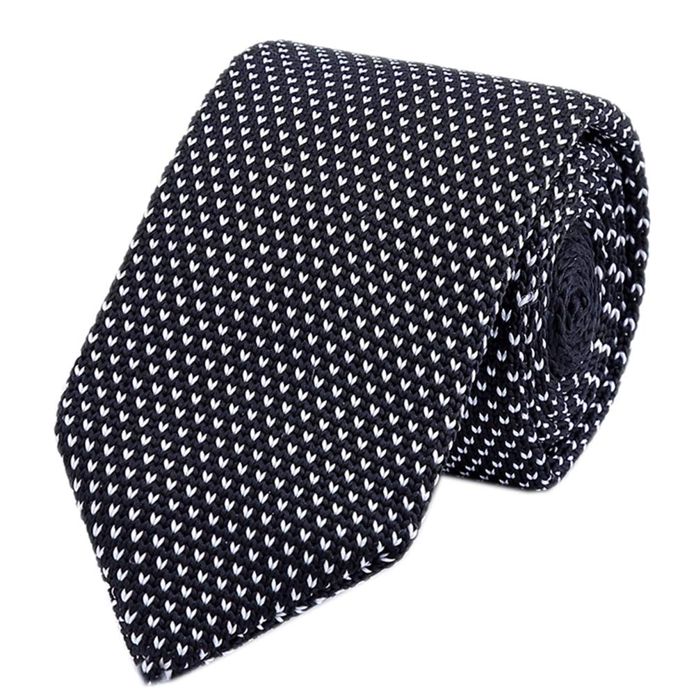 White Black Tie Woven Casual Preppy Stylish Necktie for Tall and Big Men or Boys by Kihatwin (Image #1)