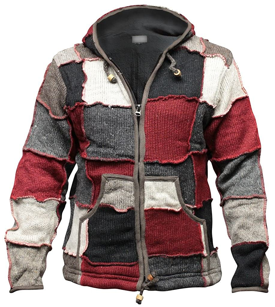 Shopoholic Fashion Mens Winter Patch Wool Hippie Jacket at Amazon Mens Clothing store: