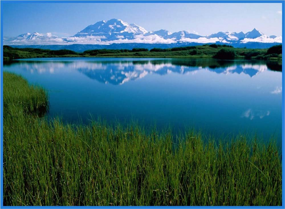 Lake at Mt。McKinley、デナリ公園、アラスカ – ビニールStained Glass Film , Static Cling Window Decal 21 in x 33 in B0062UC19A  21 in x 33 in
