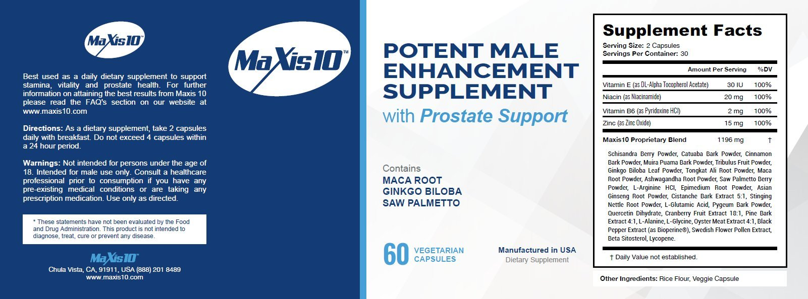 MAXIS10 (60ct): A Natural Male Enhancement Pill - Improve Prostate Health, Testosterone Booster, Larger Member, Thicker Enlargement Formula, Best Sexual Control, Male Enhancing Pill, Enhancing Pills.