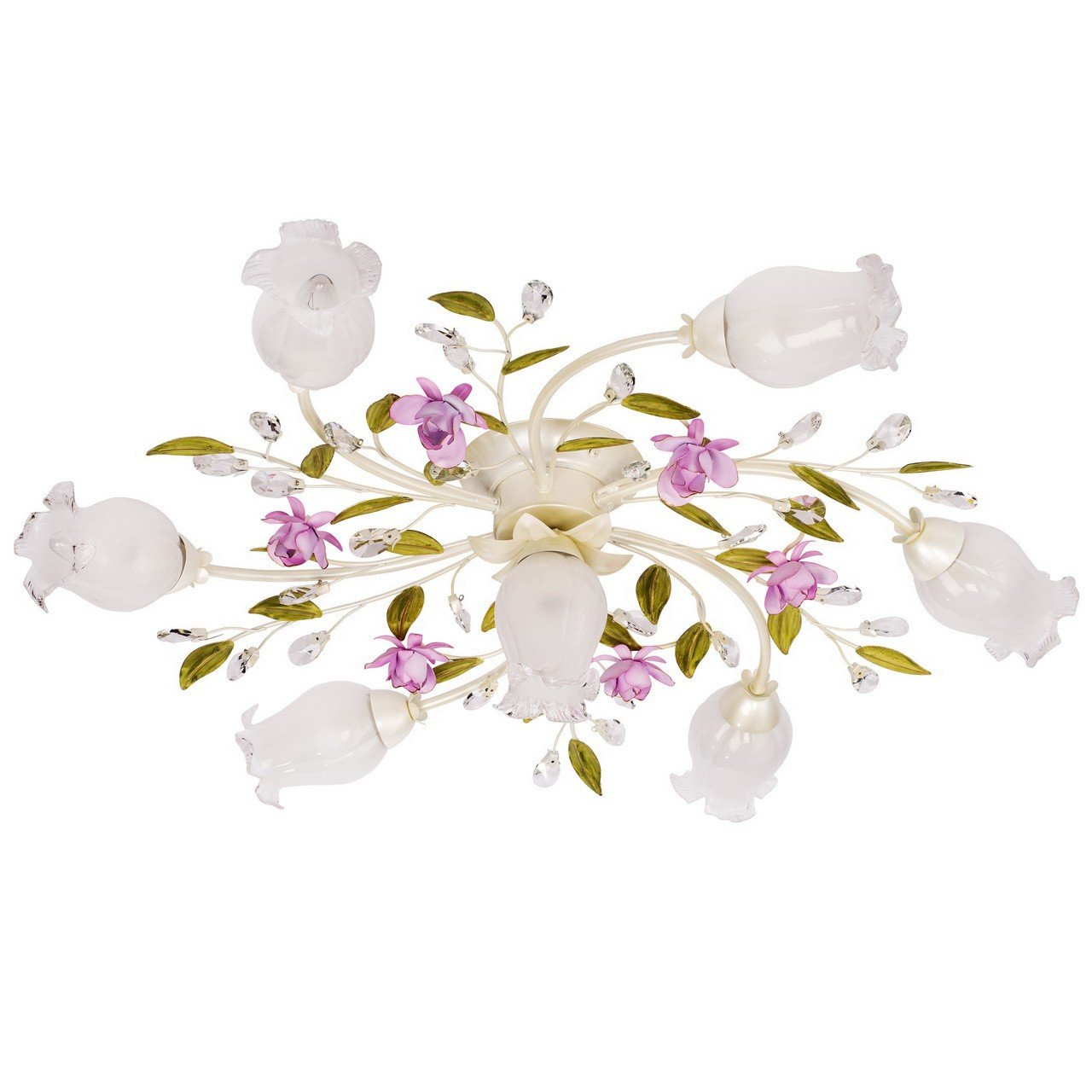 Kronleuchter Deckenleuchte Blumenform klassisch Kristall klar Chic-Stil Ø82cm 7-flammig exkl. E14 7x40W 230V