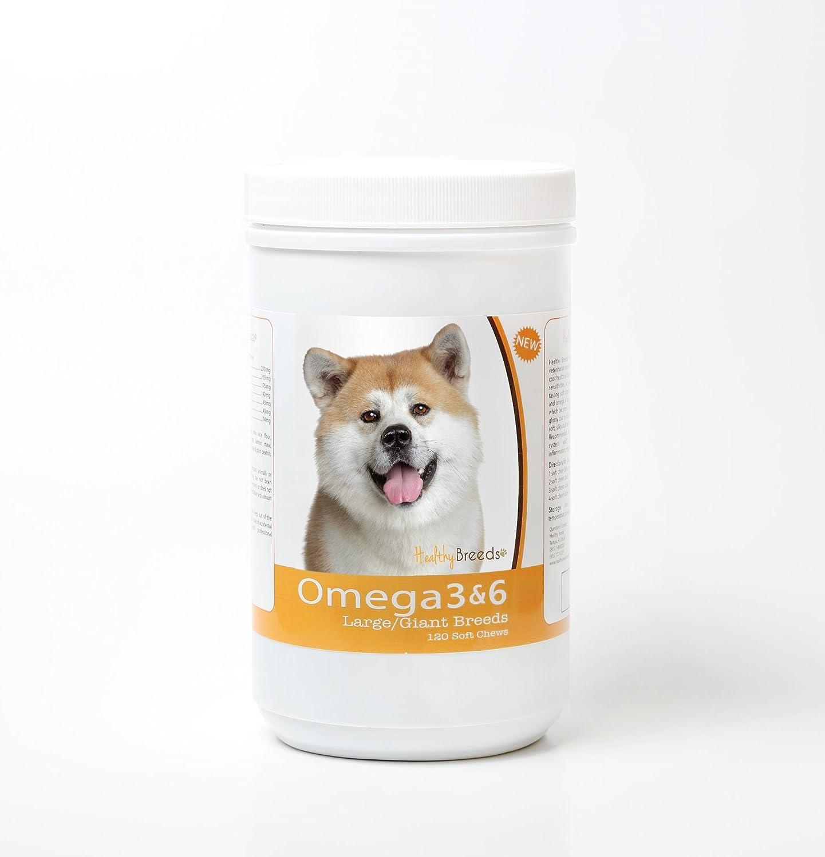 Healthy Breeds Dog Omega 3 6 Soft Chews – Large Dog Formula – Over 35 Breeds – 120 Count