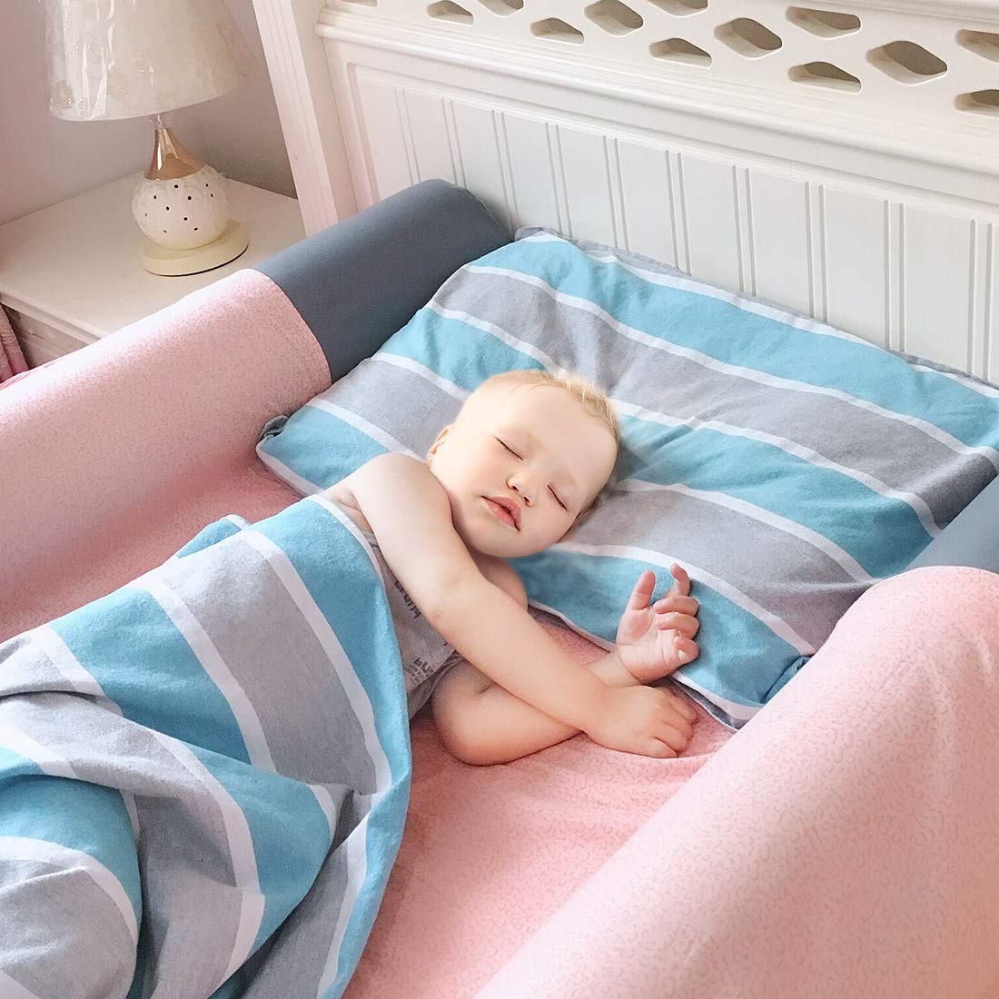 Inflatable Bed Rails Bumpers(2-Pack), Bed Rail for Toddlers with 2 Non-Slip Removable Covers, Waterproof Kids Safety Guard for Baby, Portable for Home Hotel or Travel