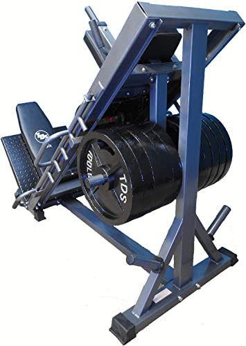 4-Way Hip Sled to use as Leg Press, HACK Squat, Forward Thrust, Calf Raise to give a Full Lower Body Workout Unit has DLX. Pads, Wide Adj. Deck Plates, 8 Wheels for Flawless Movement