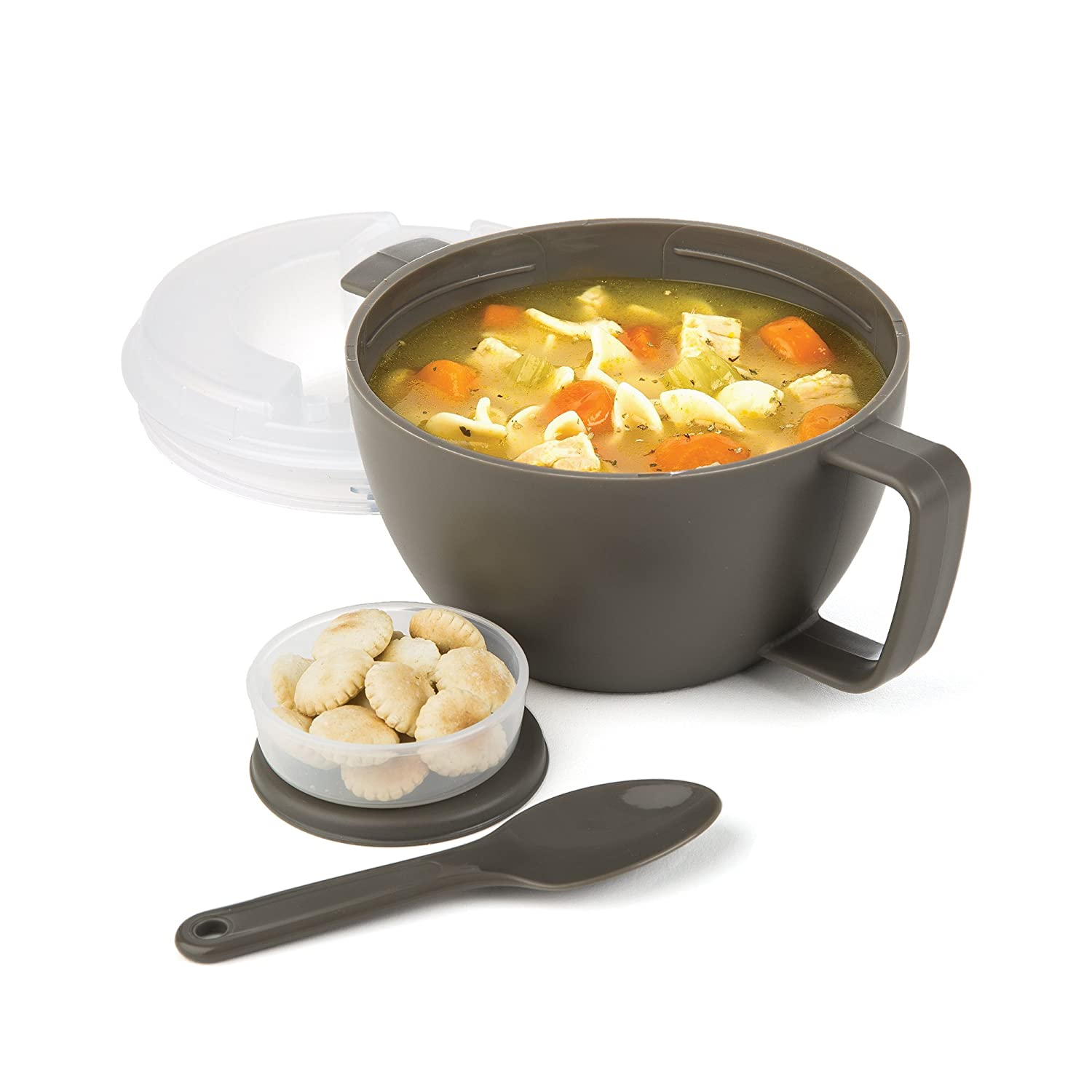 Prep Solutions by Progressive Microwave Soup On-the-Go, Gray - PS-91GY Leak-Proof, Cool-Touch Handle, Spoon Inlcuded Progressive International