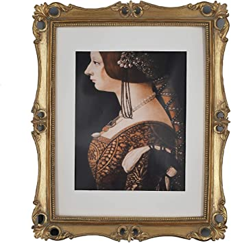 Victorian Wooden Style Oval Picture Frame 8x10 Red Brown Gold Trim with Glass
