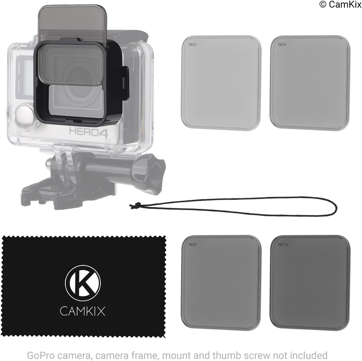 Clicks onto The Frame ND2//ND4//ND8//ND16 4 Neutral Density Filters CamKix Cinematic Filter Pack Compatible with GoPro HERO5 // HERO4 Session Perfect for Aerial Footage