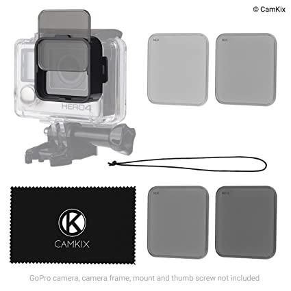 CamKix Cinematic Filter Pack Compatible with GoPro Hero 4/3+, Clicks on The Waterproof Housing, 4 Neutral Density Filters (ND2/ND4/ND8/ND16). Perfect ...