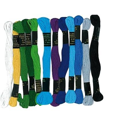 Lot de 12 échevettes - en coton pour fabriquer des bracelets brésiliens - bleus assortis