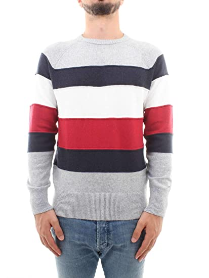 97776b195c0549 Tommy Hilfiger - Colourblock Stripe Jumper, Quicksilver Heather:  Amazon.co.uk: Clothing