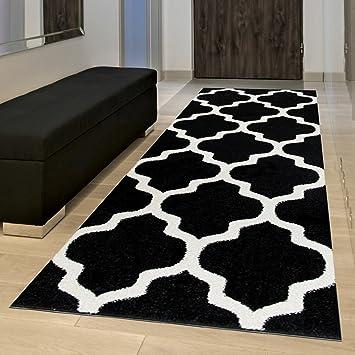 Tapiso Tapis De Couloir Moderne Collection Marocaine Couleur Noire