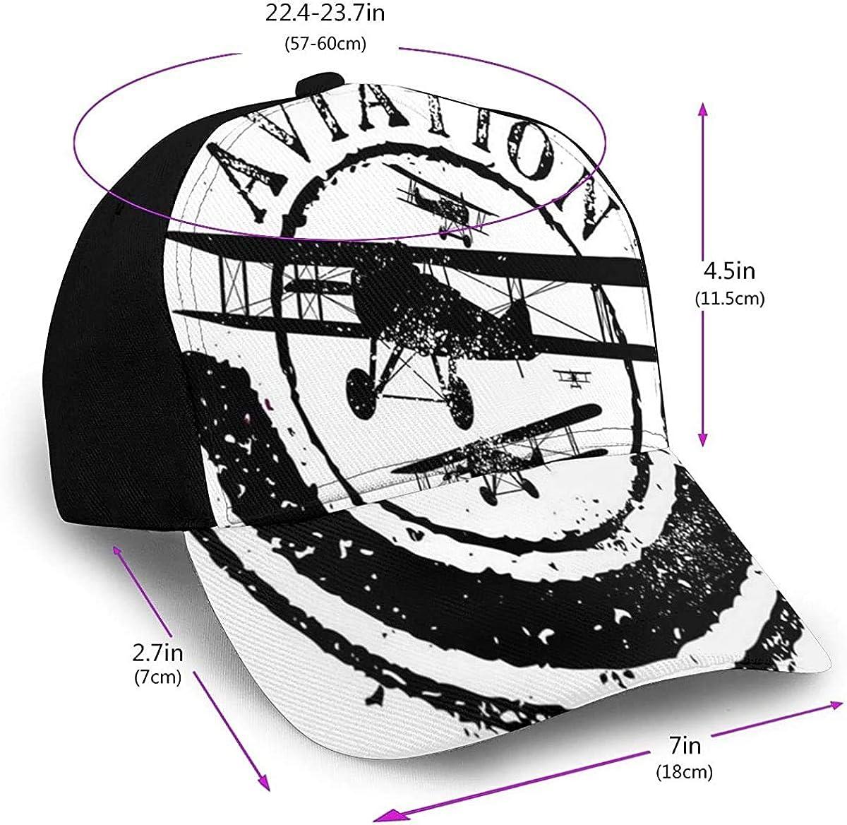 Vintage Airplane Grunge Stamp Black White Lightweight Unisex Baseball Caps Adjustable Breathable Sun Hat for Sport Outdoor