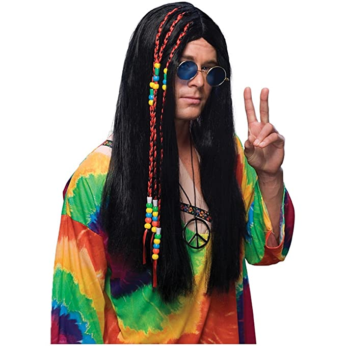 Amazon.com: Long Black Hippie peluca disfraz accesorio: Clothing