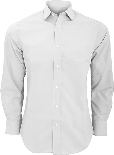 KUSTOM KIT - Camisa de Manga Larga Corte de saste Modelo Tailored Fit Hombre Caballero - Fiesta/Trabajo/Eventos