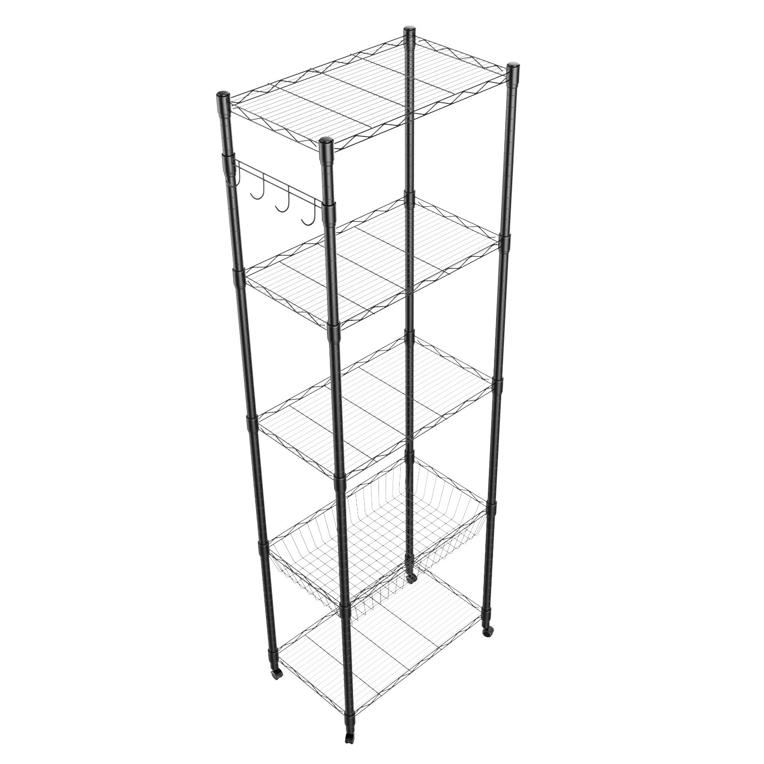 5 Tier Steel Wire Shelving with Wheels, Shelving Storage Organizer Rack for Kitchen Bathroom Balcony Living Room 71inch - Black [US STOCK] by ferty (Image #9)
