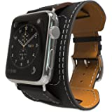 MoKo Band for Apple Watch Series 1 Series 2, Genuine Leather Smart Watch Band Cuff Strap Replacement for 42mm Apple Watch 2015 & 2016 All Models, BLACK (Not Fit 38mm Versions)