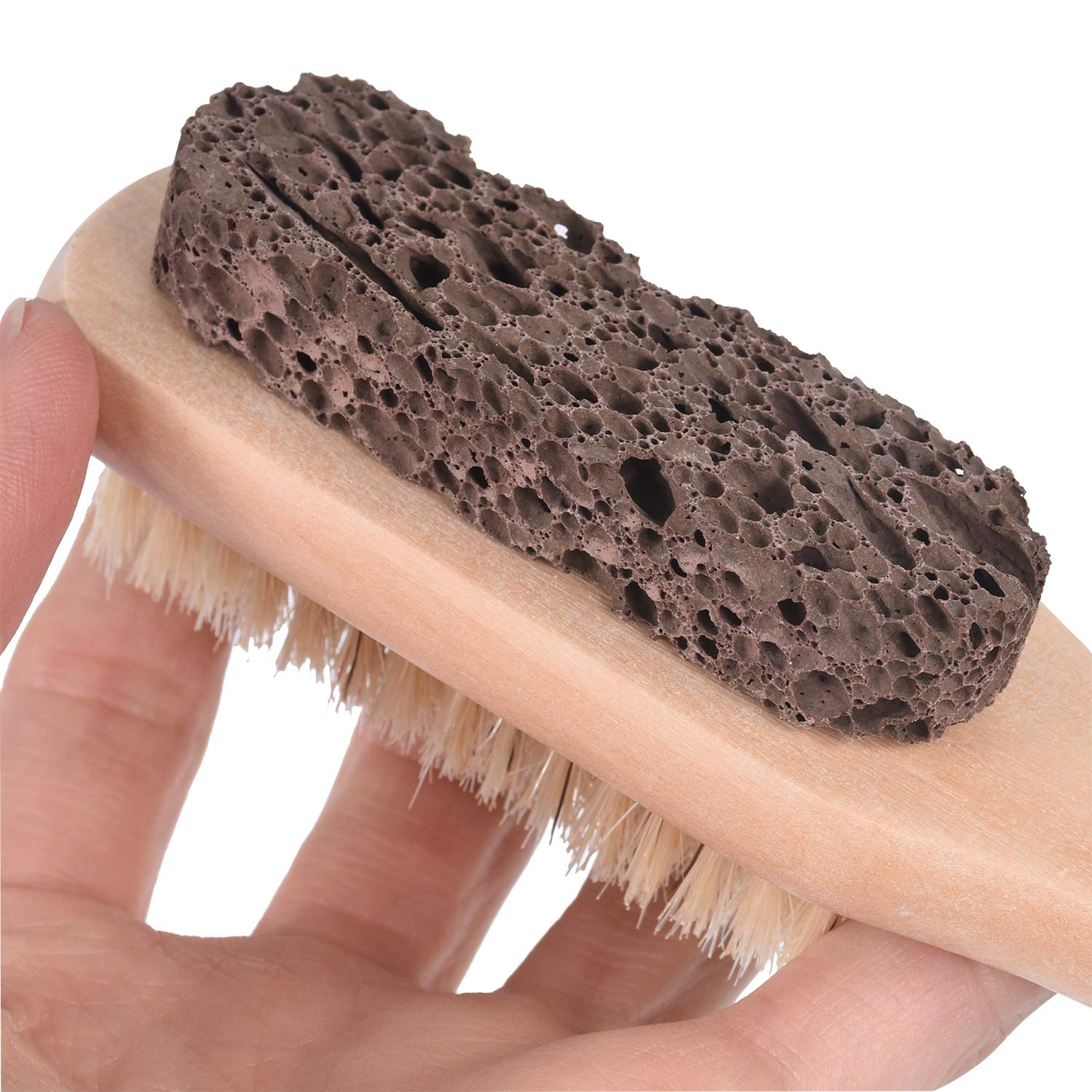 Foot Natural Bristle Brush Stone Pumice Combo with Rope wooden handle Exfoliator Pedicures Calluses Remover SPA Callus Remover with Wood Handle for Foot File: Beauty