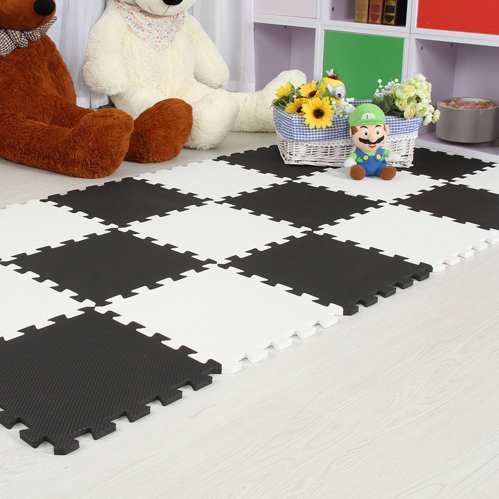 Menu Life 10-tile Black & White Exercise Mat Soft Foam EVA Playmat Kids Safety Play Floor Puzzle Playmat Tiles