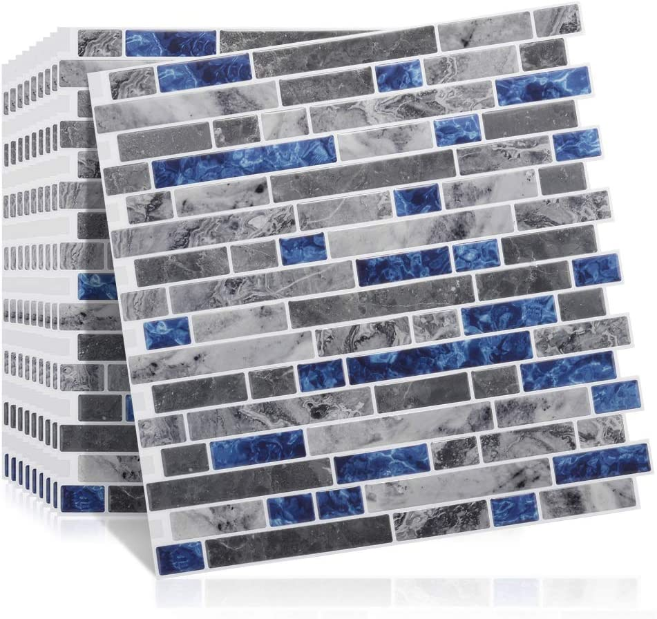 Amazon Com 10 Sheets 12x12 Mosaic Wall Tile Stickers Peel Stick Backsplash Panels Tiles Kitchen 3d Marble Self Adhesive Wall Tile Sticker For Bathroom Wall Or Kitchen Splashback Arts Crafts Sewing