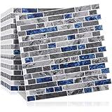 10-Sheets 12x12'' Mosaic Wall Tile Stickers Peel & Stick Backsplash Panels Tiles Kitchen 3D Marble Self-Adhesive Wall…