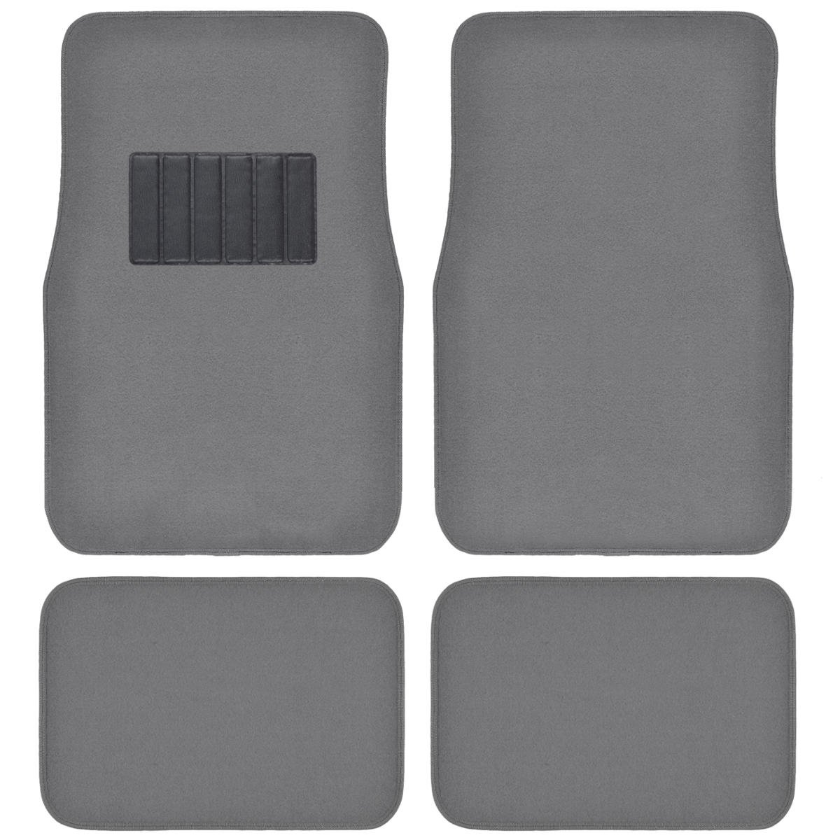 BDK Carpeted 4 Piece Mat With Vinyl Heel Pad Car Vehicle Universal Fit (Medium Gray)