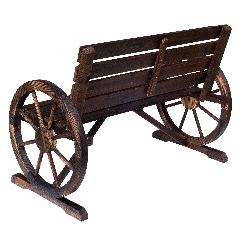 Outsunny - Banco de madera con ruedas, rústico, para exteriores o parques: Amazon.es: Jardín