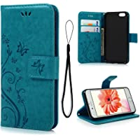 Mollycoocle Leather Wallet Case for iPhone 6/6s (Blue)