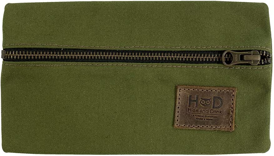 Durable Water Resistant Canvas All Purpose Utility & Charger Case for MacBook, iPad & Laptop Handmade by Hide & Drink :: Olive