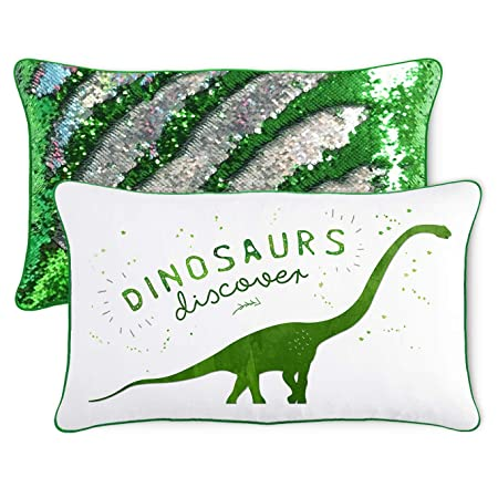 Discover Dinosaur Kids Pillow with Reversible Green Silver Color-Changing Mermaid Sequins