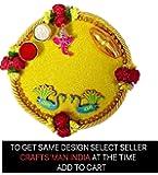 Karwa Chauth/Karva Chauth & Diwali Decorative Puja Thali/Platter with Lord Ganesha and roli Rice for Hindu Temple Rituals, Mandir Temple Accessories Spiritual Gifts Karwachauth.Indian Gift Items