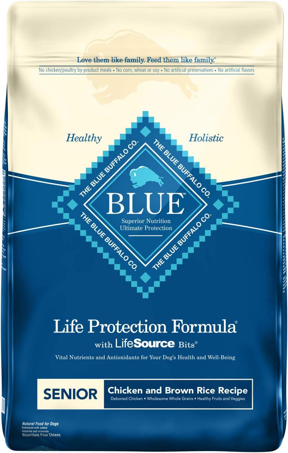 Blue Buffalo Life Protection Formula Senior Dog Food – Natural Dry Dog Food for Senior Dogs – Chicken and Brown Rice – 15 lb. Bag