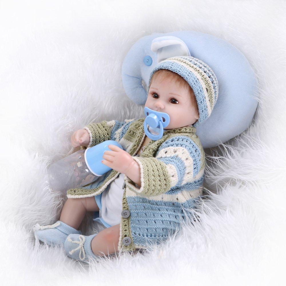 Decdeal 22inch 55cm Reborn Ragazza Silicone Principessa Bambola Bambino Bagno Giocattolo con Vestiti Realistici Regali Giocattolo