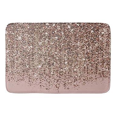 Taupe Blush Pink Rose Bronze Gold Glitter Glam Bathroom Mat Kicthen Rug Door Mat 23.6x15.7 inches
