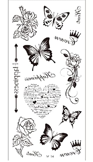 Letra En Forma De Corazón Mariposa Tatuajes Temporales A Prueba De ...