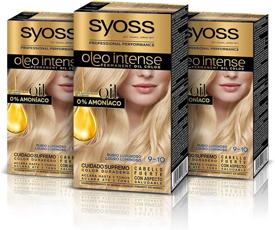 Syoss Oleo Intense - Tono 9-10 Rubio Luminoso (Pack De 3) – Coloración permanente sin amoníaco – Resultados de peluquería – Cobertura profesional de ...